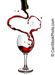 el verter, copa, forma corazón, botella, vino rojo