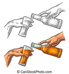 el verter, creación, cerveza, vidrio., dedo, botella, adam.,...