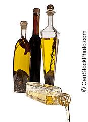el verter, el, aceite, de la botella