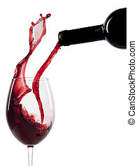 El verter, vino, rojo, vidrio