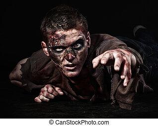 el, zombi, es, acostado, en, el, estudio