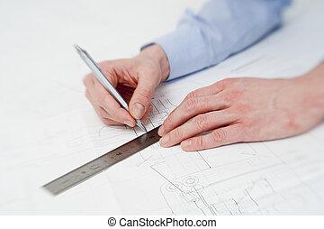 elaboración, ajustes, dibujo, ingeniero