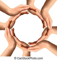 elaboración, círculo, manos