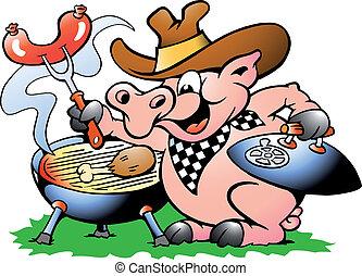 elaboración, cerdo, barbacoa, sentado