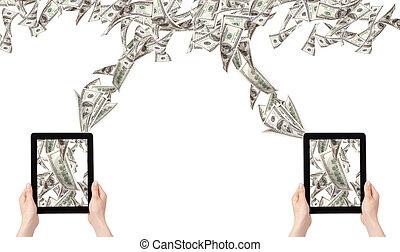 elaboración, concepto, computadora, dinero