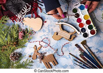 elaboración, decoraciones de navidad, juguetes