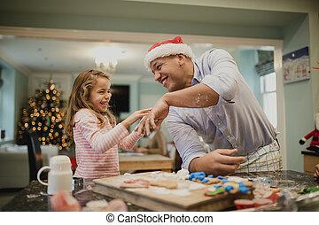 elaboración, desordenado, navidad, galletas, con, papá