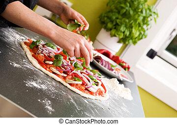 elaboración, detalle, pizza