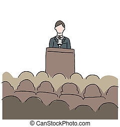 elaboración, discurso, público, hombre