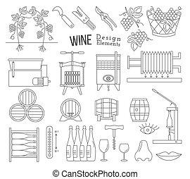 elaboración, elementos, diseño, vino saborear