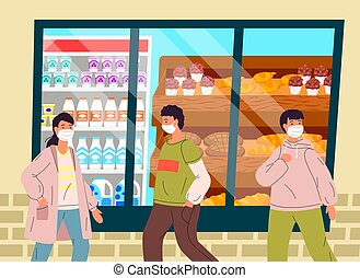 elaboración, epidemia, compras, joven, mascarillas, pánico, ...
