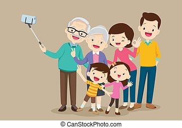 elaboración, familia , selfie, anciano, foto