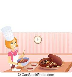 elaboración, huevos, pascua, rubio, niña