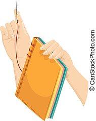 elaboración, libro, encuadernación, manos
