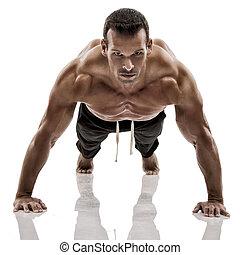 elaboración, músculo, pushups, hombre