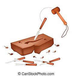 elaboración, madera, escultura, herramientas, escultura