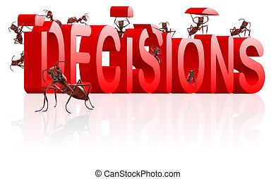 elaboración, marca, decisiones, decidir, opción