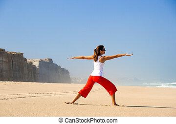 elaboración, mujer, yoga, joven