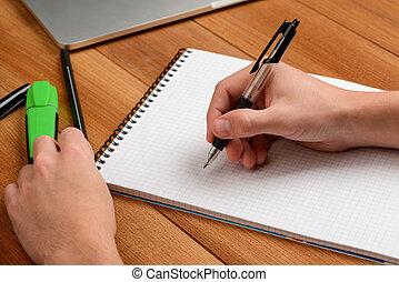 elaboración, notepad., estudiar, estudiante, notas que escriben
