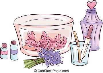 elaboración, perfume, ingredientes