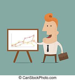 elaboración, presentación, hombre de negocios