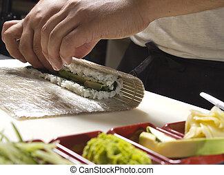 elaboración, rollo sushi