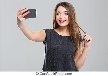 elaboración, selfie, mujer felíz, foto