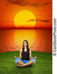 elaboración, yoga, en, el, ocaso