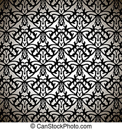 Elaborate Black Forged Pattern on White Background