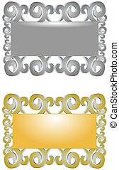 silver and gold frames