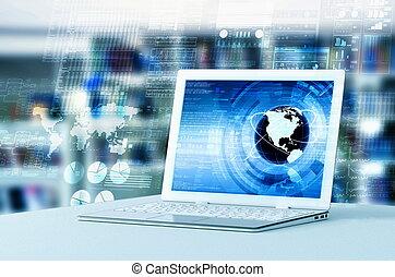 elaborazione, dati, laptop