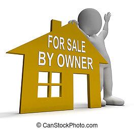 eladás, épület, kiárusítás, ügynök, kívül, tulajdonos, látszik