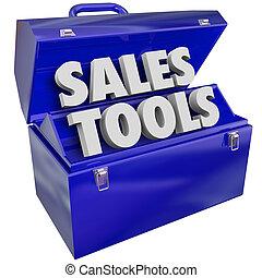 eladás, módszer, értékesítések, szavak, szerszámosláda, tervez, eszközök