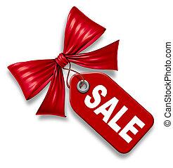 eladási ár, címke, noha, piros szalag, vonó odaköt