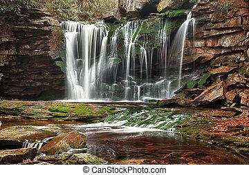 Slow shutterspeed photo of Elakala falls in Blackwater State park in West Virginia