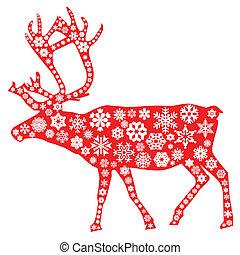 eland, kerstmis, rood