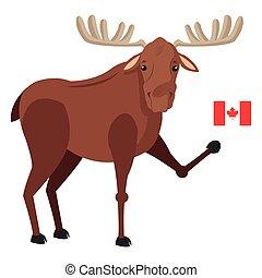 eland, pictogram, vlag, enkel, canadees