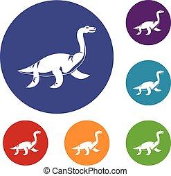 Elasmosaurine dinosaur icons set in flat circle red, blue...