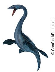 Elasmosaurus dinosaur confront - Elasmosaurus platyurus...