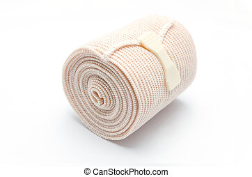 Elastic ACE compression bandage warp unwrapped, isolated
