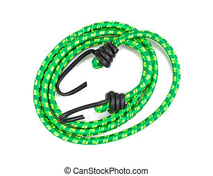 Elastic round rope with hooks on white