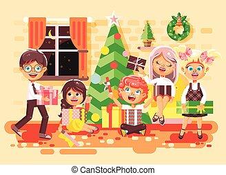 elasticidad, árbol, diseño, regalos, año, estilo, regocíjese, niñas, debajo, nuevo, navidad, navidad, feliz, plano, ilustración, niños, caracteres, niños, caricatura, celebrar, habitación, elemento, movimiento, vector