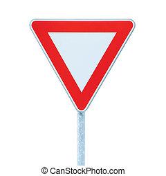 elasticidad, aislado, señal de cosecha, prioridad, roadsign, tráfico, manera, camino