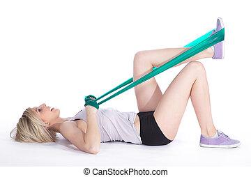 elastico, donna, sport