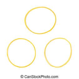 elastico, ufficio, giallo, isolato