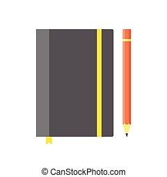 elastische band, copybook, bladwijzer, mal, leeg