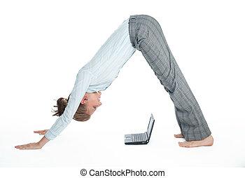 elastyczny, dziewczyna, komputer, student, pracujący