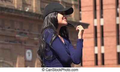 Elated Happy Woman Wearing Hat And Wig