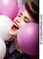 Elation. Happy Laughing Girl with Colorful Air Balloons - Sales