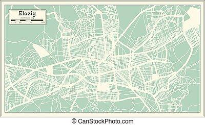 Elazig Turkey City Map in Retro Style. Outline Map.
